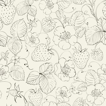 Fundo de padrões de morangos e flores