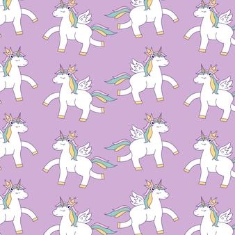 Fundo de padrões de unicórnios com arco-íris. ilustração vetorial