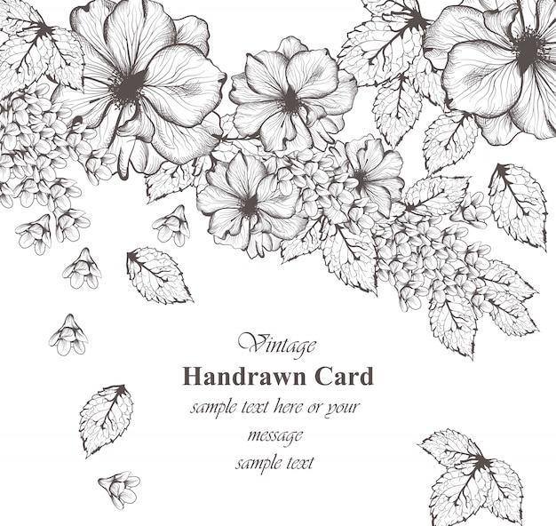 Fundo de padrões florais. ilustrações de estilo gráfico desenhadas a mão na linha de arte