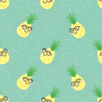 Fundo de padrões sem emenda de abacaxi bonito verão frutas