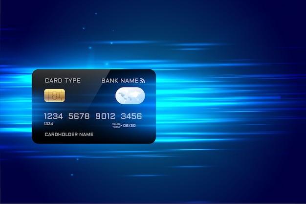 Fundo de pagamento com cartão de crédito digital em estilo de tecnologia rápida