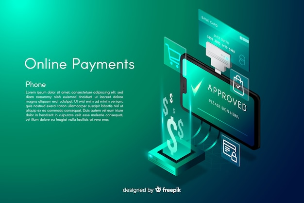 Fundo de pagamentos on-line isométrico
