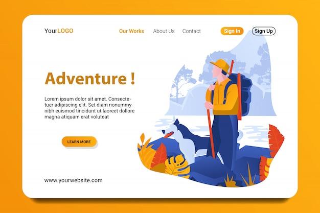 Fundo de página de destino de aventura.