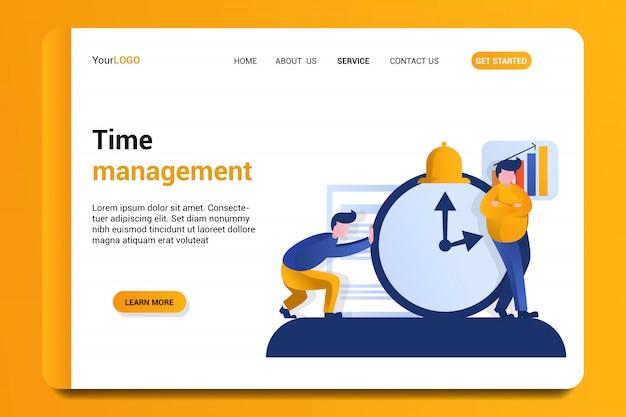 Fundo de página de destino de gerenciamento de tempo.