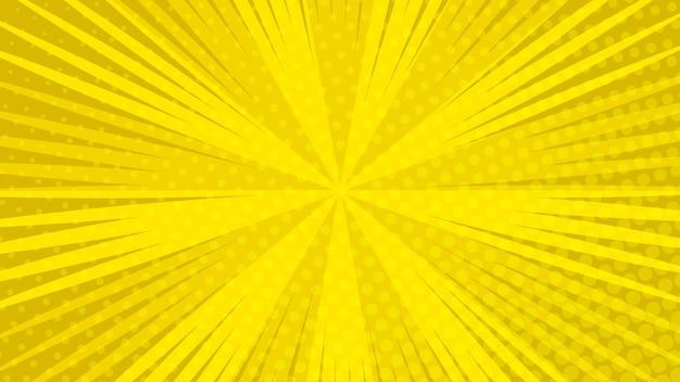 Fundo de página de quadrinhos amarelos em estilo pop art com espaço vazio. modelo com textura de efeitos de raios, pontos e meio-tom. ilustração vetorial