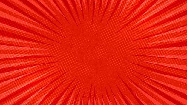 Fundo de página de quadrinhos vermelhos em estilo pop art com espaço vazio. modelo com textura de efeitos de raios, pontos e meio-tom. ilustração vetorial