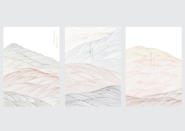 Fundo de paisagem abstrata com onda japonesa. elemento de linha com ilustração de modelo de floresta de montanha.