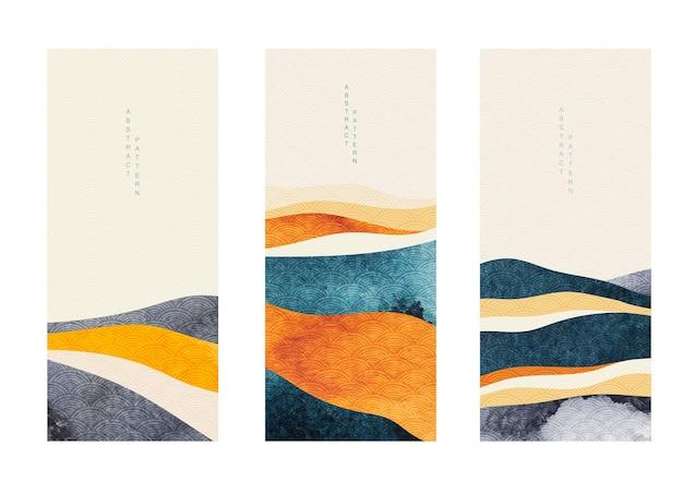 Fundo de paisagem abstrata com vetor de padrão de onda japonês. textura aquarela em estilo chinês. ilustração do modelo de floresta de montanha. design de banner.