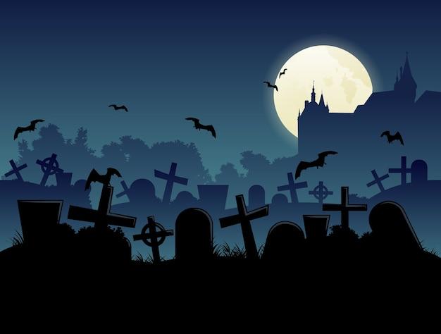 Fundo de paisagem ao luar do cemitério de halloween