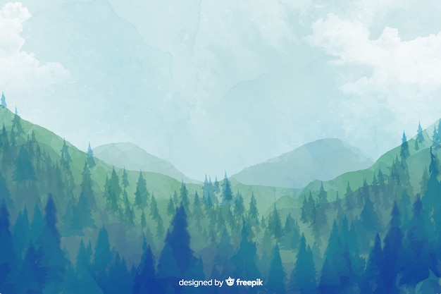 Fundo de paisagem aquarela floresta abstrata