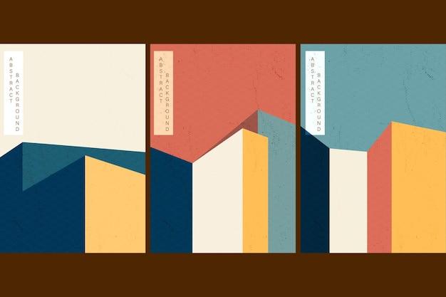 Fundo de paisagem artística com design japonês