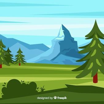 Fundo de paisagem com árvores e montanhas