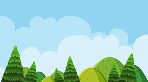 Fundo, de, paisagem, com, árvores, ligado, colinas