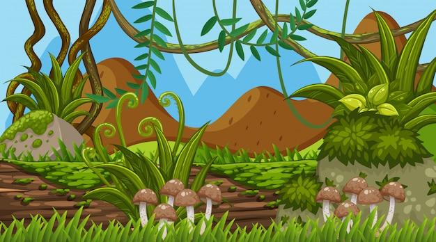 Fundo de paisagem com cogumelos no log