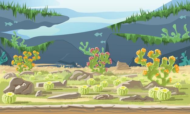 Fundo, de, paisagem, com, deserto, e, cacto