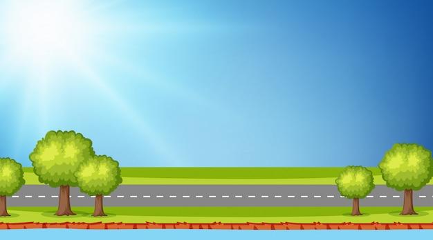 Fundo, de, paisagem, com, estrada, ao longo, rio