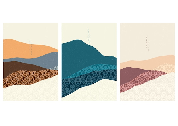 Fundo de paisagem com padrão de onda japonês. molde abstrato com elementos ondulados. projeto de layout de montanha em estilo asiático.