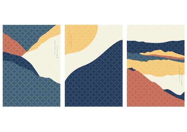 Fundo de paisagem com padrão japonês. capa de montanha em estilo vintage. elemento curva.