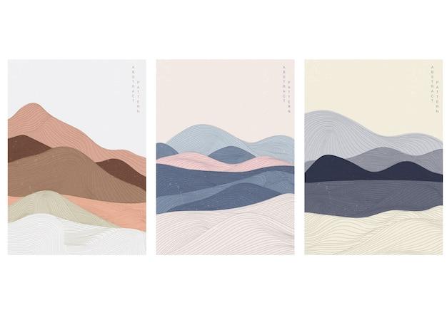 Fundo de paisagem com padrão japonês. modelo de curva com elementos de padrão de linha.