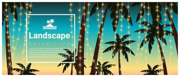 Fundo de paisagem com palmeiras na festa de praia tropical