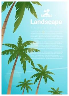 Fundo de paisagem com palmeiras na praia tropical