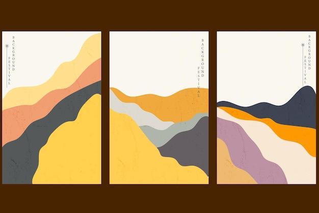 Fundo de paisagem de arte com onda japonesa