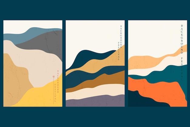 Fundo de paisagem de arte com padrão de onda japonês