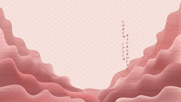 Fundo de paisagem de arte com vetor de textura gradiente rosa suave