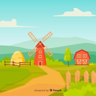 Fundo de paisagem de fazenda de estilo dos desenhos animados