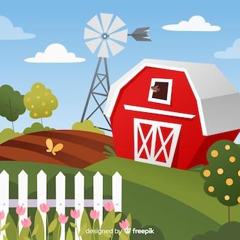 Fundo de paisagem de fazenda dos desenhos animados