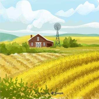 Fundo de paisagem de fazenda estilo aquarela