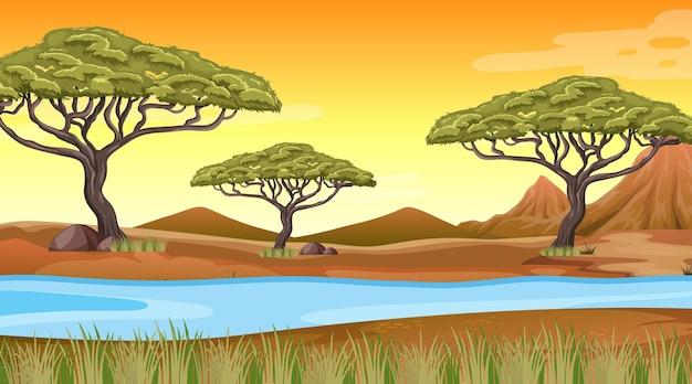 Fundo de paisagem de floresta africana