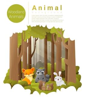 Fundo de paisagem de floresta com animais da floresta