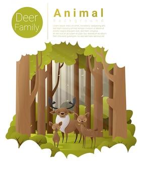 Fundo de paisagem de floresta com veados