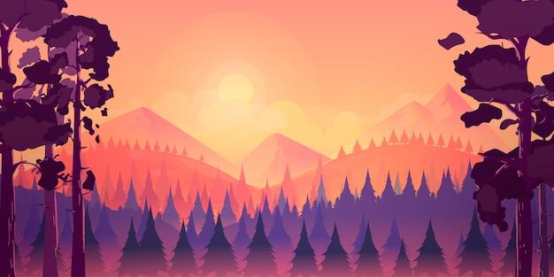 Fundo de paisagem de floresta e montanhas
