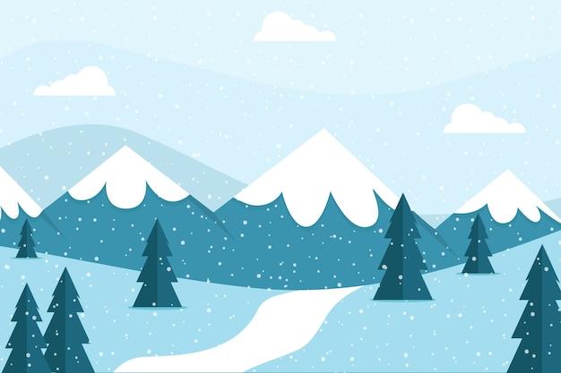 Fundo de paisagem de inverno bonito