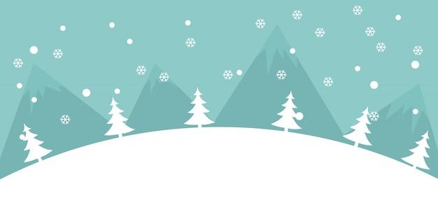 Fundo de paisagem de inverno com neve