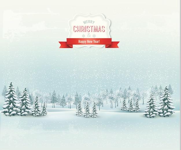 Fundo de paisagem de inverno de natal.