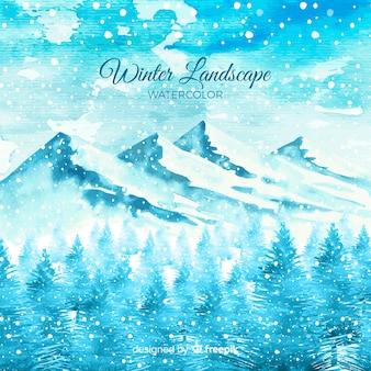 Fundo de paisagem de inverno em aquarela