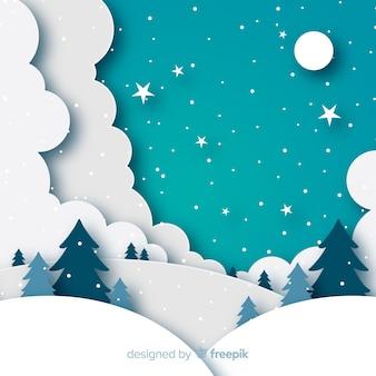 Fundo de paisagem de inverno em estilo de papel