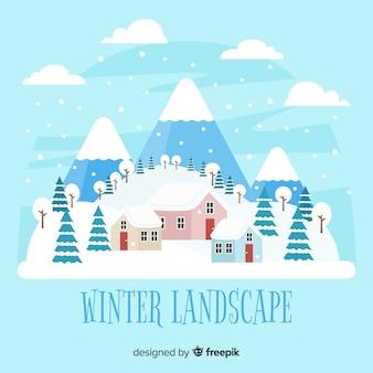 Fundo de paisagem de inverno nevado