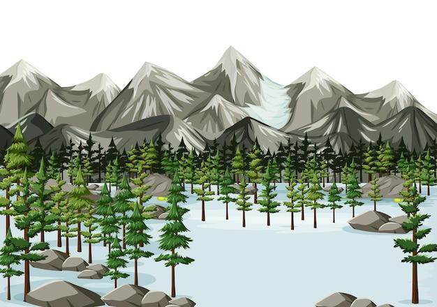 Fundo de paisagem de inverno sem costura de desenho animado Vetor grátis