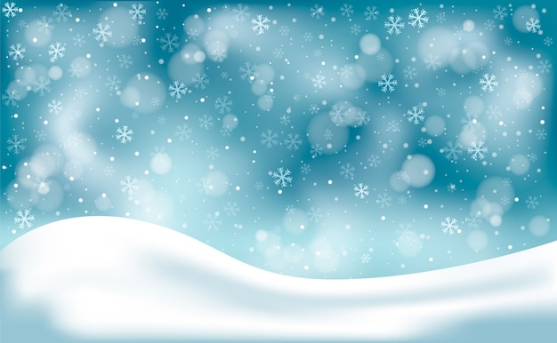 Fundo de paisagem de inverno sem foco com flocos de neve
