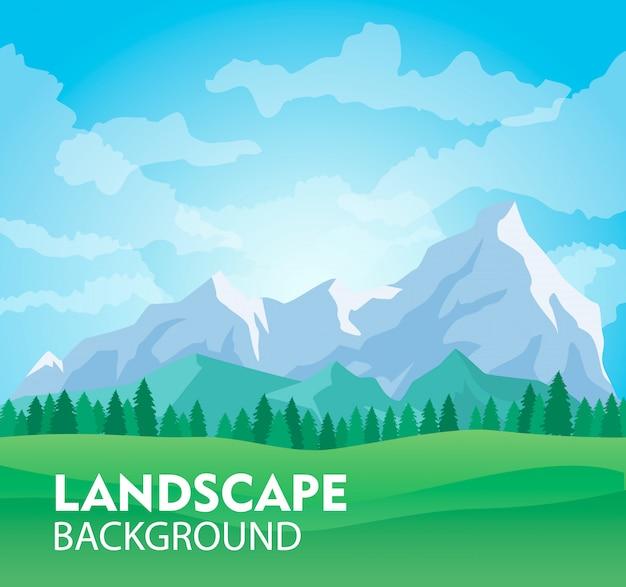 Fundo de paisagem de montanha ensolarada