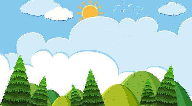 Fundo de paisagem de montanhas e árvores