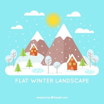Fundo de paisagem de neve, com casas e montanhas em design plano