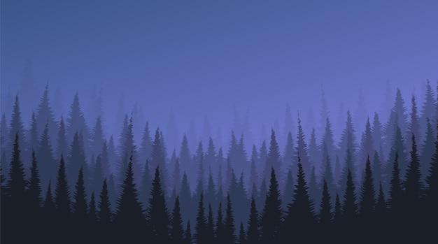 Fundo de paisagem de nevoeiro escuro com floresta de pinheiros e estrelas