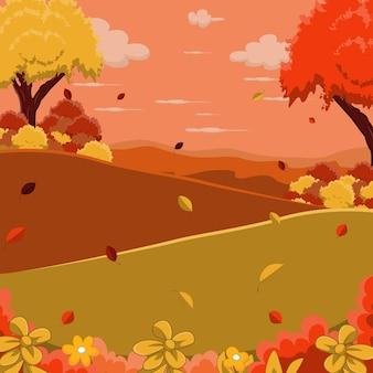 Fundo de paisagem de outono com árvores