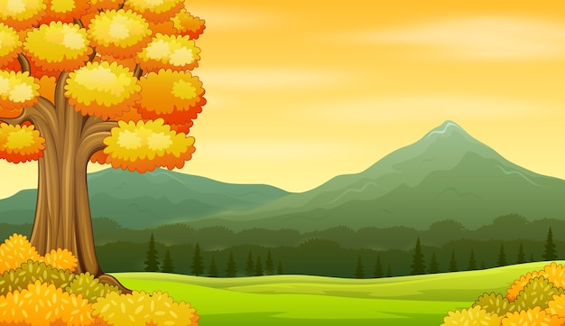 Fundo de paisagem de outono com campos e montanhas