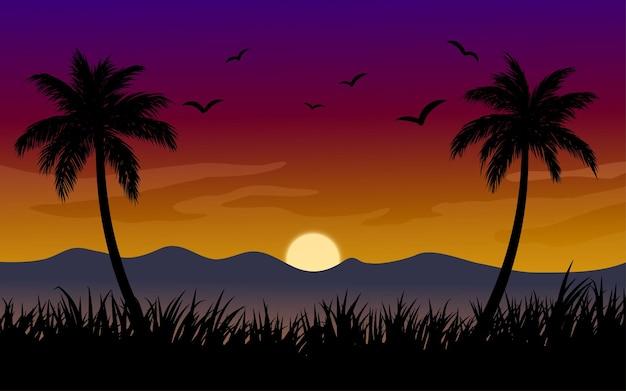 Fundo de paisagem de pôr do sol com coqueiros, grama, montanha e pássaros